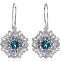 0.50 Ct Round Cut Blue Topaz And Diamond Vintage Earrings 14k White Gold