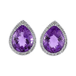 0.19 Ct Pear Amethyst And Diamond 14k White Gold Stud Earrings