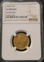 1844 D 5 Gold Liberty Ngc Vf Details Damaged Free Shipping