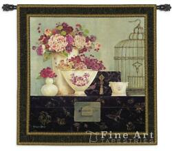Butterfly Blossoms Tapestry Wall Hanging - Floral Picture W53 X H53