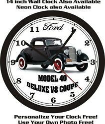 1933 Ford Model 40 Deluxe V8 Coupe Wall Clock-free Usa Ship