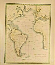 Map Of Themorthern And Southern Hemisphere Of The. Atlantic Ocean 1835 Frameable