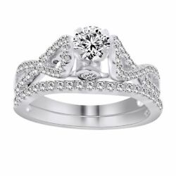 1ct Round Cut Simulated Solid 10k White Gold Swirl Engagement And Band Rings