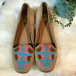 Dolce Vita Suede Beaded Oakes Loafers Flats Aztec Turquoise Coral Womens Size 8andnbsp