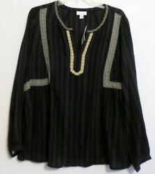 NWT! J JILL EMBROIDERED PEASANT BLOUSETOP-1X-LS-BLACKMULTI-GORGEOUS!