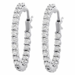 10k White Gold Diamond In And Out Hoops 0.98 Long Round Hinged Earrings 2 Ct.