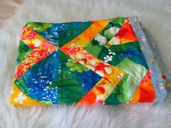 Vintage Patchwork Quilt Tops Or Bedspreads Bohemian Retro 60and039s Colorful Prints