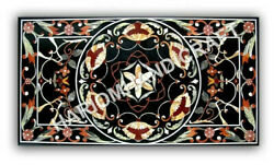 5and039x3and039 Black Marble Dining Table Top Collecctible Inlay Restaurant Decors E969d
