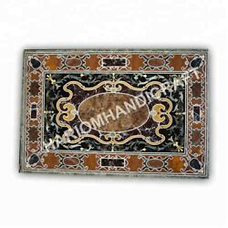 4and039x3and039 Marble Rectangle Table Top Mosaic Semi Precious Stone Inlay Decors E1003a