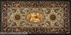 2.5and039x5and039 Marble Dining Table Top Pietradure Inlay Mosaic Stone Outdoor Arts H1552
