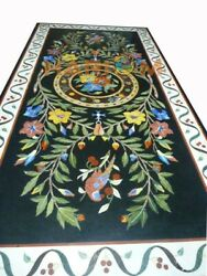 5and039x3and039 Marble Dining Table Top Marquetry Floral Parrot Inlay Decor Furniture B469