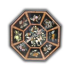 42 Marble Black Dining Table Top Floral Bird Marquetry Inlay Home Decors E1027a
