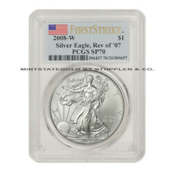 2008-w Rev 07 1 Silver Eagle Pcgs Sp70 First Strike Burnished American Fs Ms70