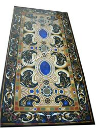 6and039x3and039 Black Marble Dining Table Top Rare Multi Mosaic Inlaid Home Decors E490