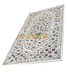 8'x4' Marble Dining Table Top Hakik Marquetry Inlaid Work Kitchen Decor E441