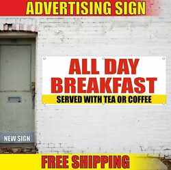 Breakfast Served Banner Advertising Vinyl Sign Flag Food Cafe All Day Tea Coffee