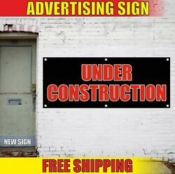 Under Construction Banner Advertising Vinyl Sign Flag Build Notice Attention Now