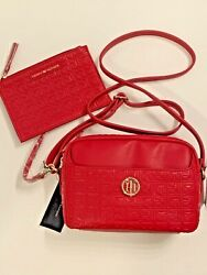 Tommy Hilfiger TH Logo Designer Crossbody &Pouch Set Bag Purse Synthetic Leather $54.99