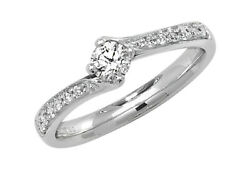 Diamond Twist Solitaire Ring 18ct White Gold 0.37ctw Appraisal Certificate