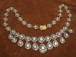 14.57cts Polki Rose Cut Diamond Antique Victorian Look 925 Silver Necklace