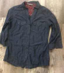 MAURICES COTTON CHAMBRAY BUTTON DOWN COLLAR SHIRT 34 SLVS CUTE SZ S SMALL!