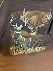 Gildan Whitetail Deer Hunting Club Dark Brown Graphic T-shirt Size Large Used