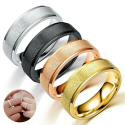 Womenand039s Gift Frosted 6mm Band Man Size 6-12 Ring Couple Stainless 4 Colors Steel