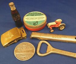 Junk Drawer Lot - Antique Advertising Collectibles Coca Cola Lighter And More