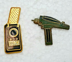 Vintage Star Trek Tos Phaser And Communicator Cloisonne Pin Collection—your Choice