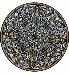 48 X 48 Black Marble Dining Table Top Pietra Dura Handmade Home And Garden
