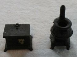 2 Antique Mini Cast Iron Stoves/banks -1 Potbelly And 1 Old Kitchen Cook Stove