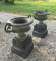 Antique Pair of Cast Iron Garden Urns w Stands Double Handled