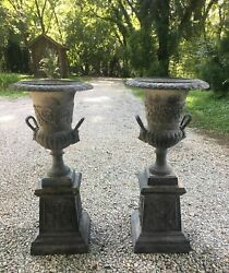 Antique Tall Pair of Cast Iron Garden Urns w Stands Lion Head Handles