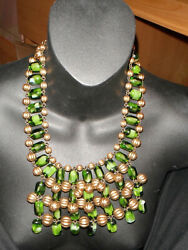 BIB NECKLACE OFAK FRANCOISE MONTAGUE COUTURE RUNWAY neon green antique gold clr