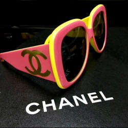 Super rare CHANEL sunglasses Vintage Coco Mark pink x yellow wide frame 3a14MN