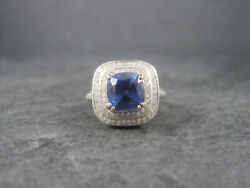 1.90ct Natural Round Diamond 14k White Gold Sapphire Cocktail Ring Size 7 To 9