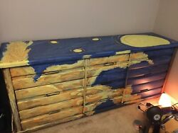 Painted Solid Wood Vintage 9 Drawer Dresser With Mirror