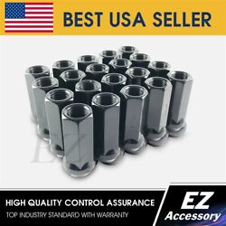 24 Open End Lug Nuts Bulge Acorn 14x2 Ford Lincoln Black 1.9 For Extended Studs