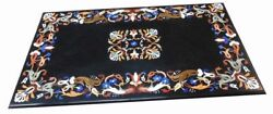 48 X 24 Black Marble Center Coffee Table Top Floral Inlay Pietra Dura Art Work