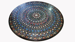 48 X 48 Marble Dining Table Top Semi Precious Stones Inlay Work Home Decor
