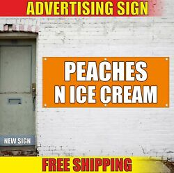 Peaches N Ice Cream Banner Advertising Vinyl Sign Flag Candy Bar Cold Drinks