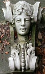 Antique Limestone Corbel Of Woman From A Nyc Historic Building - Local Pickup