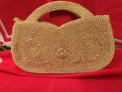 Vintage Beaded Clutch Wedding Purse White Pearl Clutch $5.00