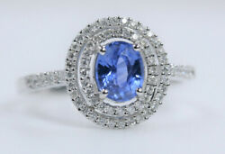 1.28ct Natural Round Diamond 14k White Gold Sapphire Cocktail Ring Size 7 To 9