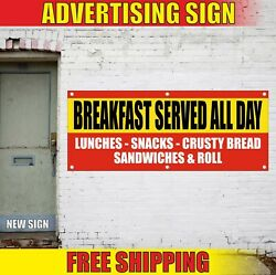 Breakfast Served Banner Advertising Vinyl Sign Flag All Day Lunches Snacks Bread