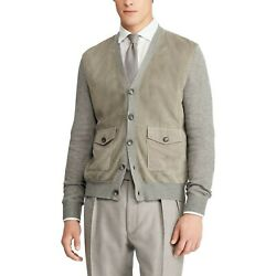 2495 Purple Label Mens Suede Cashmere Cardigan Sweater Italy Gray