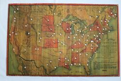 Rare Norrisand039 Map Of The United States Of America 1884