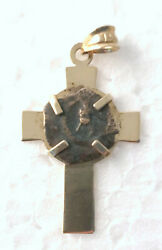 Widows Mite Ancient Bronze Coin Mounted In A 14k Gold Pendant Necklace