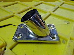 Bow Stern Rail End Base Deck Flagpole Railing Mount For 1 Od Pipe Ss New In Bg