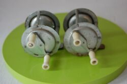 2 Vintage/antique Fishing Reels Alumimun Celluloid Handles 1 3/4made In Japan